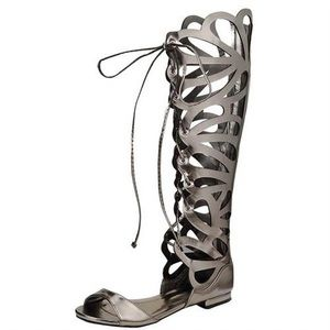 Shoes - LASER CUT OUT LACE UP GLADIATOR SANDAL
